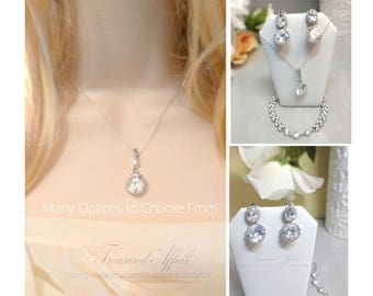 Bridal Jewelry Set, Wedding Jewelry Set, Bridal Necklace and Earring Set, Bridal Bracelet, Silver Bridal Jewelry, Oval Cubic Zirconia Drops