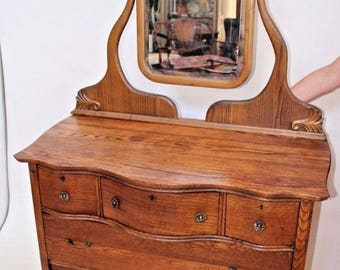 French Art Nouveau Dresser Vanity Beveled Mirror five drawers one Locking drawer Insured safe nationwide shipping available