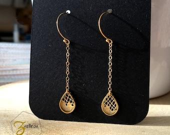 """Boucles d'oreille goutte doré dentelle en or 14 carats  - modèle """"PETITE PLUIE"""" Coll. HOLI // Zaelleza  - hippie / bohème / Mariage / Mariée"""