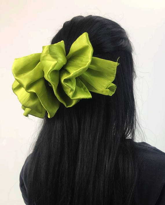 90's Giant Neon Green Hair French Clip - Vintage BIG Bow Clip Lime Green Statement Bow Clip - Hipster Accessory Women Girly Big Hair Clip