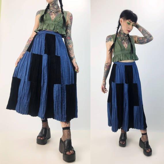90's Denim + Black Velvet Midi Skirt High Waist Size Small - Checker Patchwork Mixed Fabrics Vintage Black/Blue Denim Skirt Elastic Waist