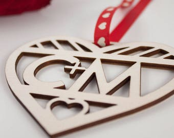 Laser Cut Love Heart Gift // INITIALS // Plywood // Valentines Day