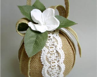 """Burlap and Lace Flower Girl Pomander, White Hydrangea Blossoms, Rose Leaf Greenery, 5 inch Decorative Sphere, Kissing Ball, """"Anna"""""""