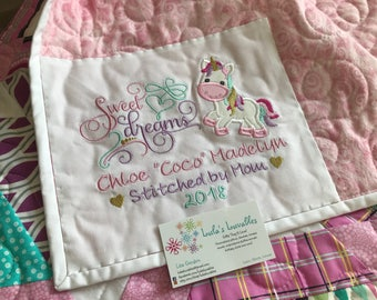 Add a Quilt Label or Birth Stat Square to your quilt or pillow