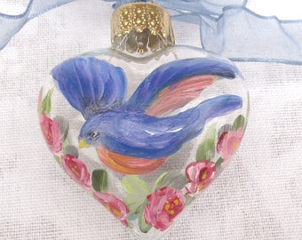 Bluebird and Roses Heart Ornament ~ February Birthday ~ Shabby Rose Ornament ~ Handpainted Bluebird ~ Sweetheart Gift