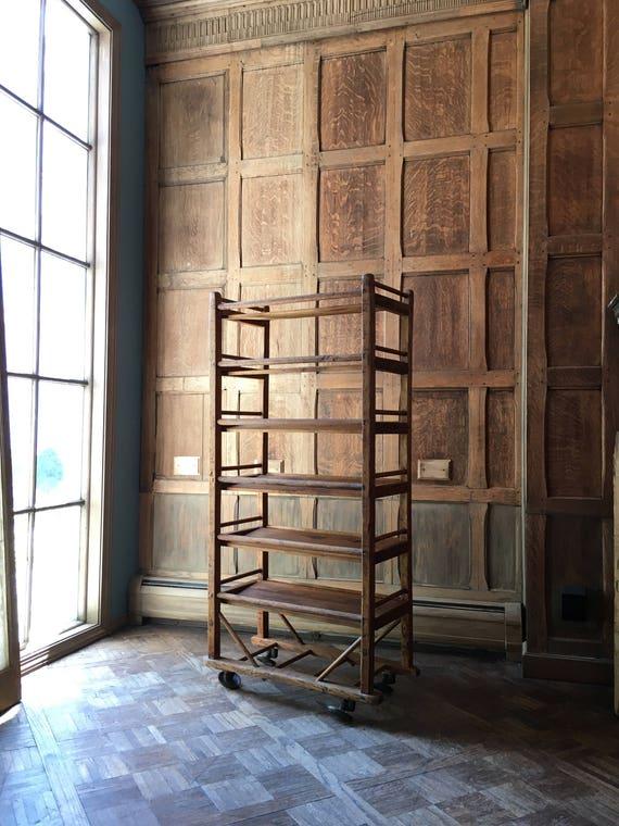 Antique Bakers Rack, Early 1900s Wood Bakers Rack, Cast Iron Casters, Industrial Shelving, Rustic Wine Rack, Shoe Rack