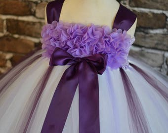 Lavender plum and white chiffon Hydrangea flower girl dress