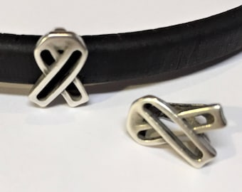 Regaliz Sterling Silver Plated Open Ribbon for Licorice Leather Bracelets, Cut out spacer, wire frame slider, large hole bead
