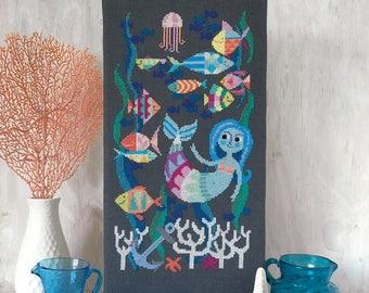 Mermaid Lagoon - Satsuma Street modern cross stitch pattern PDF - Instant download