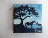 """Original painting: """"Playful"""",  mare and foal in the moonlight, mini canvas"""