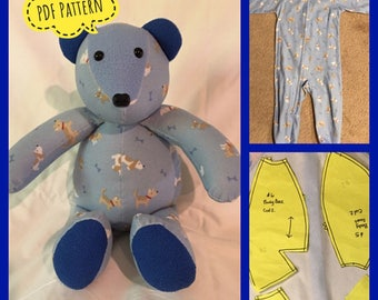 "Memory/keepsake Bear pattern, complete instructions, PDF format, instantant download, made from childrens clothes, 16"" tall."