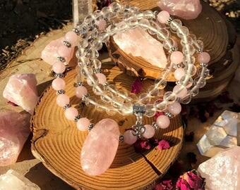 ROSE & CLEAR QUARTZ Meditation Mala | 108 MalaBeads | Genuine Rose Quartz Crystal Healing Om Mala | Heart Chakra Yoga Prayer Beads | Mantra