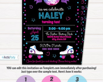 Roller Skating Invitations, Roller Skating Birthday Party Invitations - Roller Skate Invitations - INSTANT ACCESS - Edit with Templett.com