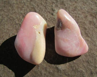 2 Pink Opal Stones - Tumble Polished Pink Opal Stones from South Africa - Healing Stones