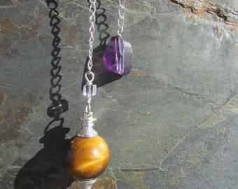 Tiger Eye Pendulum, Tiger Eye Stone Dowsing Pendulum with Gem Amethyst Holding Stone - Crystals and Healing Stones