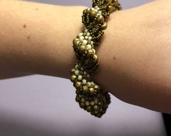 Bronze and White Dutch Spiral Beaded Bracelet