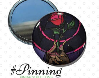 Beauty and the Beast Rose Pocket Mirror Upcycled Storybook Small Cosmetic Mirror