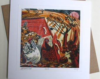 Ark. Linocut greetings card.