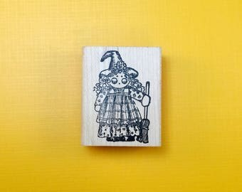 Miss WITCHEE Poo Kid Wood Mount Rubber Stamp by PEDDLER'S PACK Stampworks 1994 Halloween