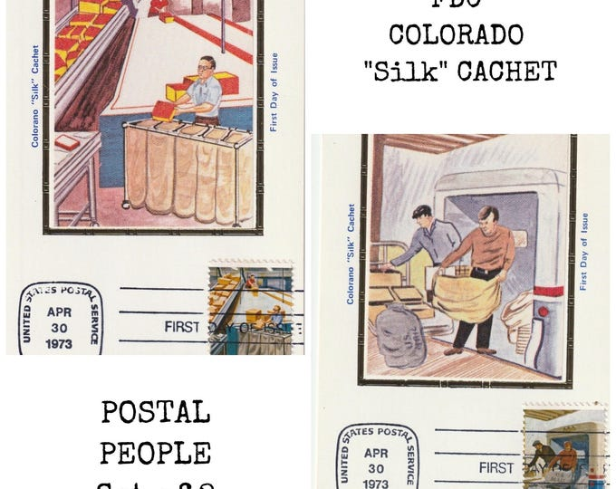 Lot of Two (2) POSTAL PEOPLE First Day Cover Post Cards April 30, 1973