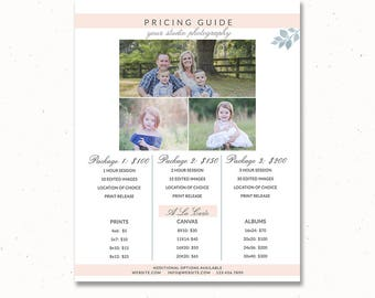 Portrait Price List Guide Template, Photographer Price List, Pricing Guide Template, Price Guide List, Pricing for Photographers, pg007