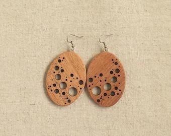 Paisley Dots I - Myrtle Wood Earrings