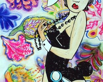 Flower Flight Bunnies 2- Large Mixed Media original by Samantha Thompson