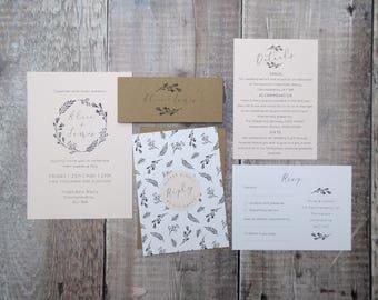 Sample Set WILD BOTANICS Wedding Stationery // blush // rustic // floral // botanical invitation // boho // simple // Wildflower