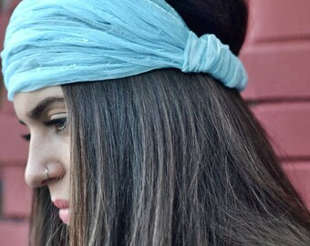 Tulle Headband, Blue Headband, Bohemian Headband, Hair Accessories, Womens Accessories, Womens Turban, Womens Headband, Vintage Headbands