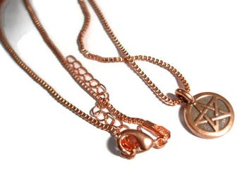 Pentagram Necklace Pagan Necklace Wiccan Necklace Copper Pentacle Necklace Copper Pentagram necklace Pagan Pendants Small pentacle necklace