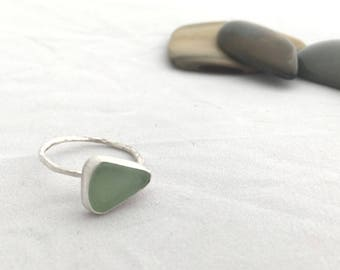 Beach Glass Ring, Size 7, Sterling Silver Ring, Statement Beach Glass Ring
