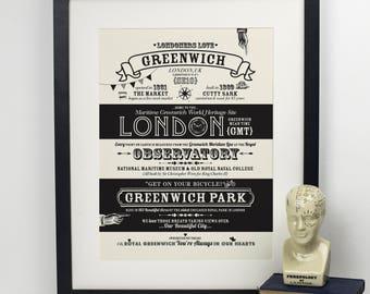 Greenwich Location Print- Greenwich London- SE10- Typography Print- Housewarming Gift- London Wall Art