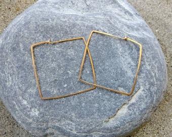 Square Hoop Earrings, Hammered Hoops, Gold or Silver, Gold Hoop Earrings, Hammered Earrings, Gold Earrings, Gold Hoops