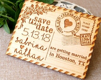 Save the date, save the date magnet, rustic save the date, save the dates, wood save the date magnet, postcard save the dates, set of 10 pc
