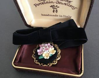 Vintage Velvet Choker Necklace Capo di Monte Handmade in Italy with original Gift Box Porcelain