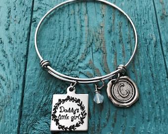 Gift for daughter, daddy daughter gift,gift for step daughter, father daughter gift, Daddys Girl, Silver Bracelet, Charm Bracelet,