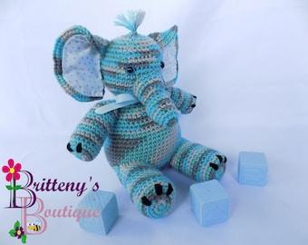 Stuffed Elephant / Musical Elephant / Musical Stuffed Elephant / Blue Stuffed Elephant / Baby Decor Stuffed Elephant / Blue Baby Elephant