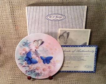 Eastern Tailed Blues Butterfly Collectible Plate - Original Box, Certificate Authenticity - 6th Issue, Gossamer Wings Collection, Lena Liu