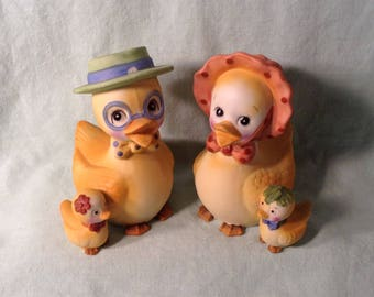 Pair of Dressed Up Duck Figurines - 1960s Lego, Korea - Duck Family with Mom, Dad, & Ducklings - Cute Springtime, Easter Decor - 1 Chip