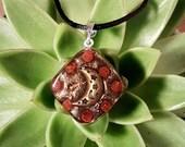 Carnelian Orgone Pendant - Crescent Moon - Sacral Chakra - Lightworker Jewelry - Orgone Chi Prana Energy Balancing - Small