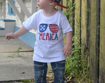 Boys 4th of July Shirt - Red White and Blue Shirt - Merica Shirt - Fourth of July Tee - 4th ofJuly Baby Outfit - Embroidered Shirt - America