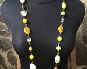 Golden yellow tiger eye long necklace beaded necklace woman necklace