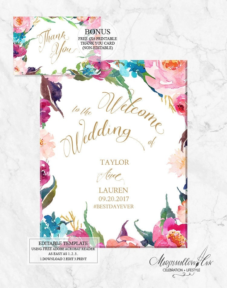 Wedding Signs, Wedding Welcome Sign Printable Welcome Wedding Signs, DIY Wedding Template PDF Wedding Printable Wedding Decor Reception Sign