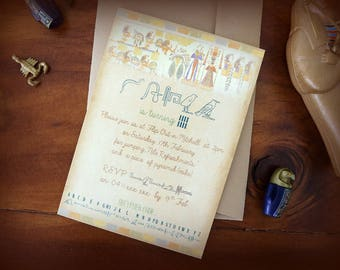 Ancient Egyptian Birthday Invitation (+ envelope), Hieroglyphics Party Invitation, Egyptian Theme Party Invitation, Antony and Cleopatra