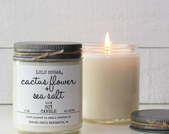 Cactus Flower + Sea Salt Scented Soy Candle - 8 oz jar - Soy Candle Gift | Cactus Candle | Floral Candle | Modern Candle Scent