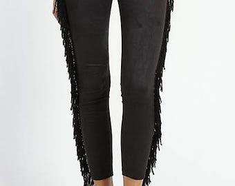 Black Tassel Leggings