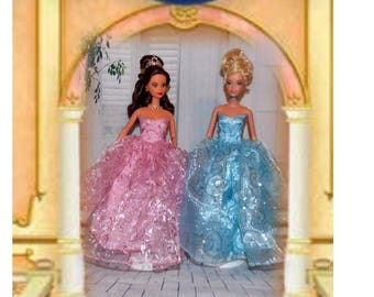 Pink or Blue Sugar Glitter Swirl Ballgown.  (Clothes only, Barbie doll is not included) Handmade in the USA.  Girl Gift. Toy