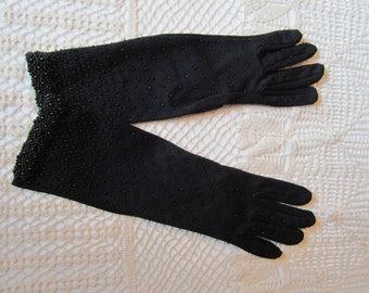 Vintage Black Beaded Ladies Gloves Original Package