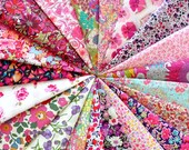 """20 LIBERTY fabric Tana Lawn 5"""" x 5"""" Patchwork Charm pieces 'Pink and Purple'"""