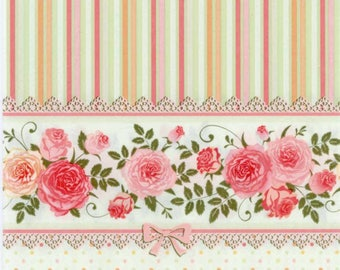 4 Decoupage Napkins | English Roses with a Striped Pattern | Rose Napkins | Floral Napkins | Striped Napkins | Paper Napkins for Decoupage